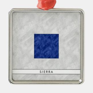 Aquarell-Seesignal-Seeflagge Quadratisches Silberfarbenes Ornament