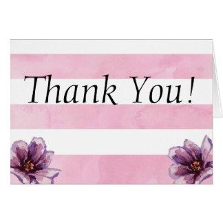 Aquarell-Streifen-BlumenBabyparty danken Ihnen Karte