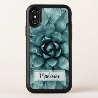 Aquarell-Succulent und Name OtterBox Symmetry iPhone X Hülle