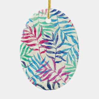 Aquarell-tropische Palmblätter II Ovales Keramik Ornament