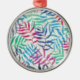 Aquarell-tropische Palmblätter II Silbernes Ornament