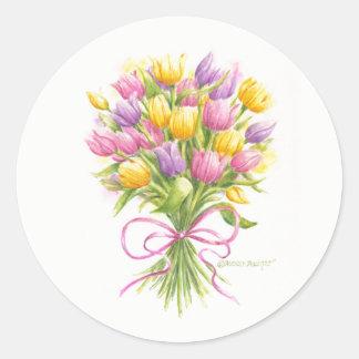 Aquarell-Tulpe-Blumenstrauß-Aufkleber Runder Aufkleber