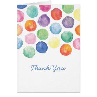 Aquarell-Tupfen danken Ihnen zu kardieren Mitteilungskarte