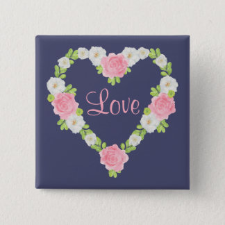 Aquarell-Valentinsgruß-Herz-BlumenKranz Quadratischer Button 5,1 Cm