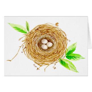 Aquarell-Vogel-Nest mit 3 Eiern Karte