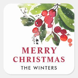 Aquarell-Weihnachten der frohen Weihnacht-  mit Quadratischer Aufkleber