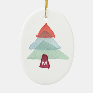 Aquarell-Weihnachtsbaum-Monogramm-Verzierung Keramik Ornament