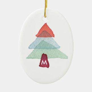 Aquarell-Weihnachtsbaum-Monogramm-Verzierung Ovales Keramik Ornament
