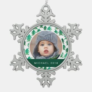 Aquarell-Weihnachtsbaum-Muster Schneeflocken Zinn-Ornament