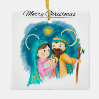 Aquarell-Weihnachtsbaum-Verzierungs-heilige Ornament