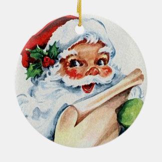Aquarell Weihnachtsmann u. weiße Rotwild-Geweihe Keramik Ornament