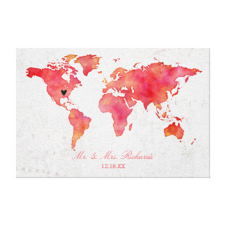 Aquarell-Weltkarte-Hochzeits-AlternativGuestbook Leinwanddruck