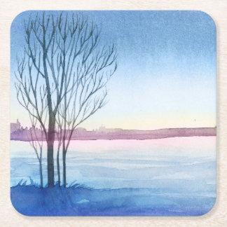 Aquarell-Winter Baum gefrorener See Rechteckiger Pappuntersetzer