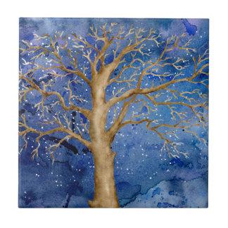 Aquarell-Winter-Eiche Kleine Quadratische Fliese