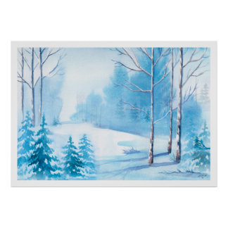 Aquarell-Winter-Szenen-Natur-Landschaft Poster