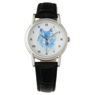 Aquarell-Winter-Wolf-klassische Uhr