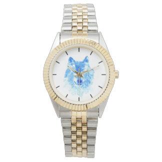 Aquarell-Winter-Wolf Zwei-Ton Armband-Uhr Uhr