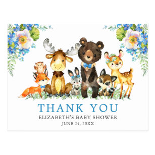 Aquarell Woodland Animals Baby Dusche Blue Postkarte