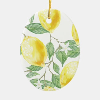 Aquarell-Zitrone Ovales Keramik Ornament