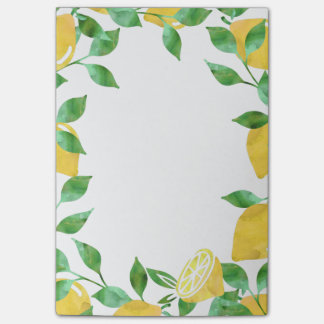 Aquarell-Zitronen-klebrige Anmerkungen Post-it Klebezettel
