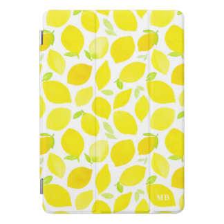 Aquarell-Zitronen-Muster-Monogramm iPad iPad Pro Cover