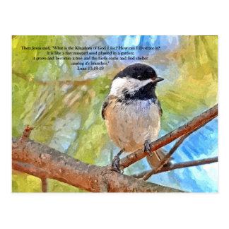 AquarellChickadee mit Bibel-Vers Postkarte