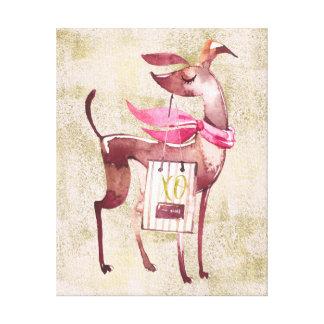 Aquarelle chic de chien du rose XO d'or Toiles