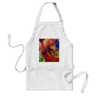 aquarelle colorée, toile-regard retouché tablier