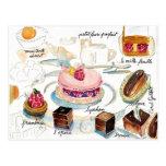 Aquarelle de croquis de pâtisserie de Paris Carte Postale