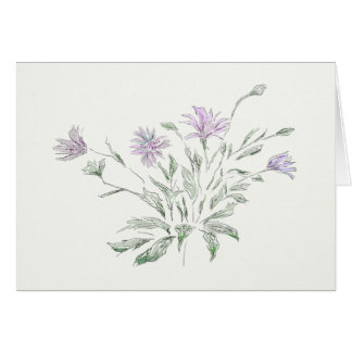 Aquarelle, fleurs, carte pour notes