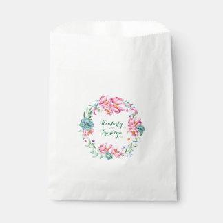 aquarelle florale rose de fleurs et de succulents sachets en papier