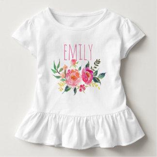 Aquarelle nommée personnalisée Floral-8 de bébé T-shirt Pour Les Tous Petits