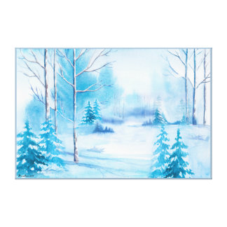 Aquarellesnowy-Winter-Natur-Landschaft Leinwanddruck