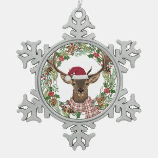 Aquarellfeiertags-Kranz mit Rotwildkopf Schneeflocken Zinn-Ornament