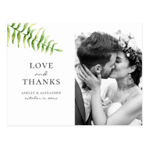 Aquarellgrüner Farn. Botanische Hochzeit danke Postkarte