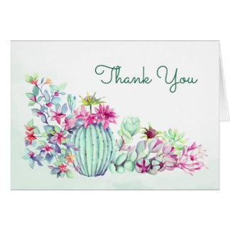 Aquarellkaktus u. Succulents danken Ihnen zu Karte