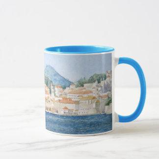 Aquarelllandschaft Montenegros Budva Tasse