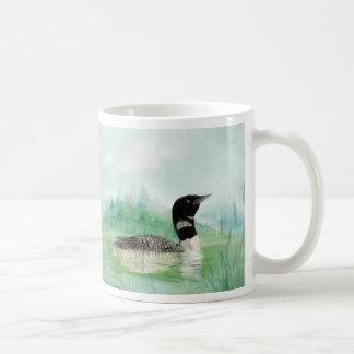 Aquarellloon-Wilderness See-Vogel-Natur-Kunst Kaffeetasse