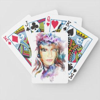 Aquarellmädchen Poker Karten