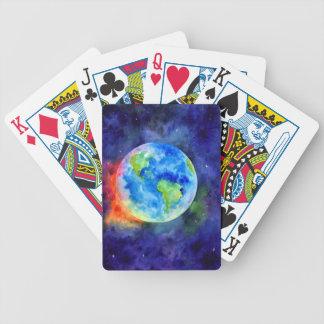 Aquarellmalerei von Erde Bicycle Spielkarten