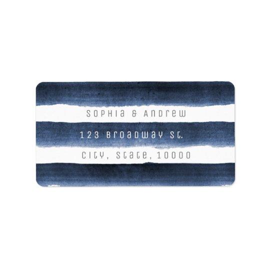 Aquarellmarine stripes Seestrandhochzeit Adressaufkleber
