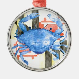Aquarellmaryland-Flagge und blaue Krabbe Rundes Silberfarbenes Ornament