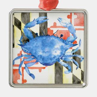 Aquarellmaryland-Flagge und blaue Krabbe Silbernes Ornament