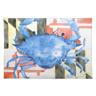 Aquarellmaryland-Flagge und blaue Krabbe Stofftischset