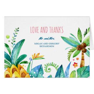 Aquarellstrandpalmen-Ananashochzeit danken Ihnen Karte