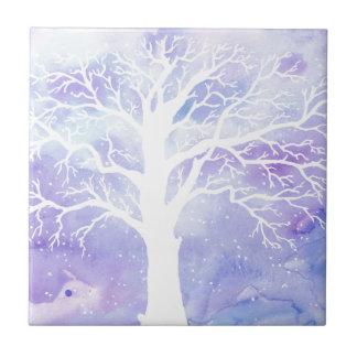Aquarellwinterbaum im Schnee Kleine Quadratische Fliese