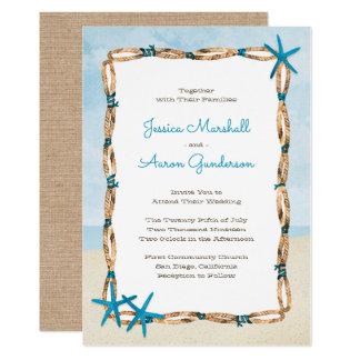 Aquastarfish-und Aquarell-Strand-Hochzeit Karte