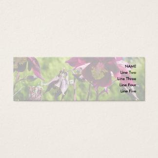 Aquilegia. Lila Blumen der Pflaume Mini Visitenkarte