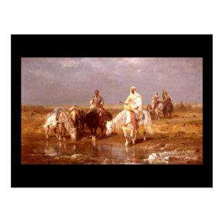 Araber Adolf Schreyer, die ihre Pferde wässern Postkarte