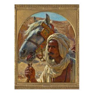 Araber und sein Pferd durch Dinet Postkarte